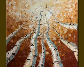 CUSTOM Seasons Original Birch Tree Landscape Painting Oil on Canvas Textured Palette Knife Modern Art by Willson Lau