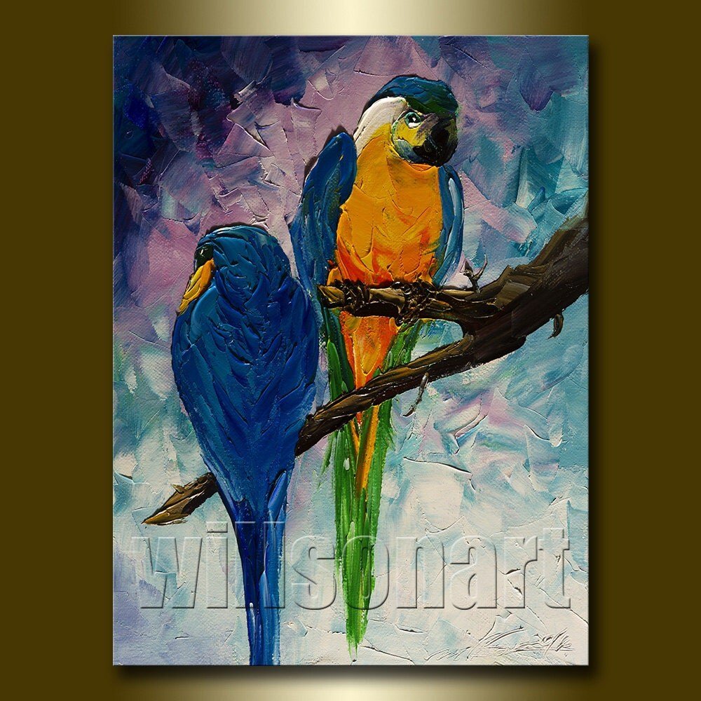 Parrot modern animal oil painting textured palette knife for Animal oil paintings