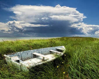 Abandoned Boat on Grassy Shore Land by the Sea and Sky on Prince Edward Island Canada No.5620 - A Fine Art Boat Seascape Photograph