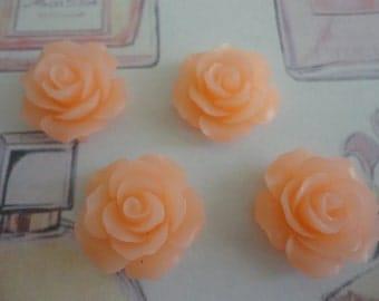 Kawaii peach color rose cabochon decoden diy charm  4 pcs---USA seller