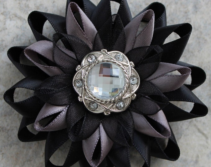 Black Flower Pin, Black Flower Corsage, Black and Gray Wedding, Black and Silver Flower, Dress Pin, Black Pin, Black Corsage Flower Pin