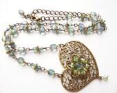 Romantic Filigree Heart Swarovski Crystal Flower Necklace, Romantic Woman Wedding Necklace, Handmade Blue and Green Filigree Heart Necklace