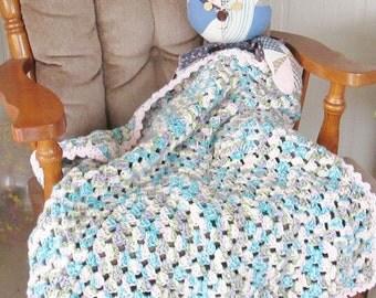 Hand crocheted afghan, pink, green, turquoise, purple, cream, blanket