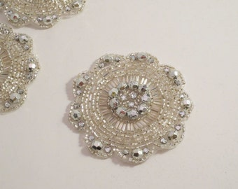 Round Crystal and Rhinestone Beaded Applique--One Piece