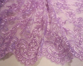 SPECIAL--Lovely Orchid Elegant Embroidered Tulle Fabric-One Yard
