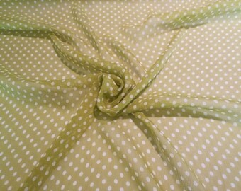 SPECIAL--Avocado Green and White Pure Silk Crinkle Chiffon Fabric--One Yard
