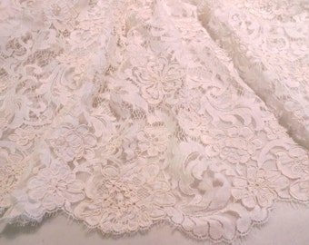 Ivory Florentine Design ReEmbroidered French Chantilly Lace Fabric--One Yard