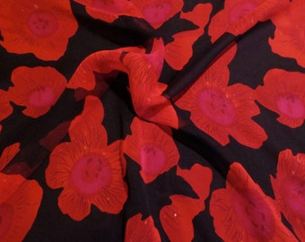 Stunning Red on Black Floral Print Pure Silk Chiffon Fabric--One Yard