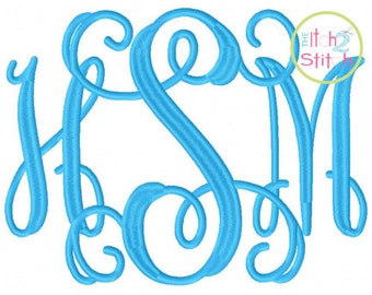 JUMBO Intertwined Vine Interlocking Large Machine Embroidery Font