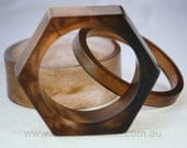 Chunky Resin Bangle Set in Swirling Browns