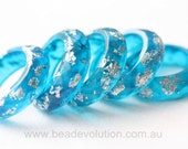 Resin Ring, Faceted in Ocean Blue with Silver Leaf Flakes, Various Sizes Available
