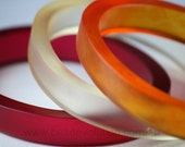 Resin Bangle Stacking Set of Three, Large Size in Orange and Reds