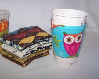 Eco-Friendly Coffee/Tea Sleeve --- Its A Hoot Turquoise