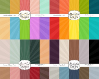 Digital Paper pack for Digital Scrapbooking, Photography, Card Making, Commercial Use - Sun Rays