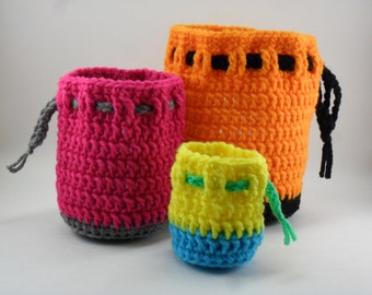 Digital Download PDF Crochet Pattern - Drawstring Bag Set - DIY Coin Purse Pouch