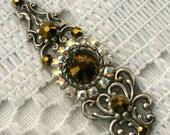Crystal Dorado Bindi in Oxidized Silver