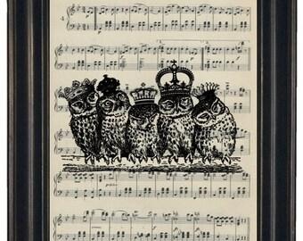 BOGO SALE OWL Art Print Music Art Print Owl Dictionary Art Print  Upcycled Vintage Sheet Music Print
