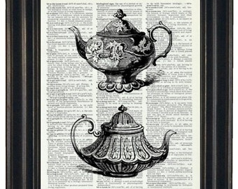 BOGO SALE Teapot Kitchen Print Dictionary Print Vintage Dictionary Book Art Book Print Upcycled Print on Book
