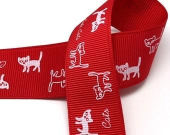 5Yards 25mm(1'') Red - White Cat Print Grosgrain Ribbon