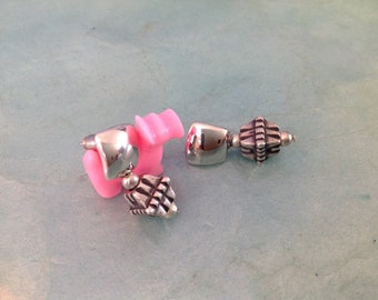 Silver drop pierced earrings