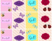 Baby Girl Gift Tags, Baby Shower Tags, Digital Insect Graphic Print, INSTANT DOWNLOAD