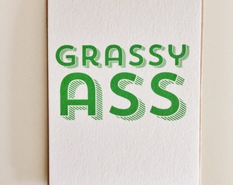 Grassy Ass Funny Thank You Card