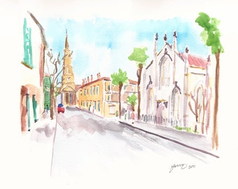 Churches in Charleston, Church Street, French Quarter.  Art print from an original watercolor sketch.