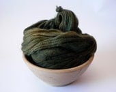 SALE Handspun Domestic Wool Thick n' Thin Yarn Hand Dyed- Deep Olive 105 yards Super Bulky