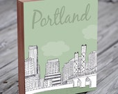 Portland Art - Portland Skyline - Portland - Portland Illustration Art - Wood Block Wall Art Print - City Art