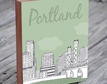 Portland Art - Portland Skyline - Portland - Portland Illustration Art - Wood Block Wall Art Print - City Art