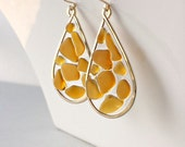 Amber Beach Glass Earrings, Sea Glass Hoops, Hammered Gold Hoops, Resin Hoop Earrings, Boho Beach Earrings, Hawaiian Jewelry: Ready to Ship