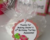 Pink Girl TURTLE First Birthday Party or Baby Shower Decorations - Gift Tag, Favor Tag - Personalized Name/Age