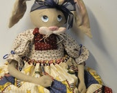 Patriotic Folk Art Rabbit Bunny Cloth Art Doll with stars red white blue decorations