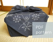 snowflakes sashiko embroidery pattern - - winter holiday border - - modern hand embroidery