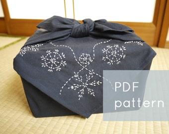 snowflakes sashiko embroidery pattern - - winter holiday border - - modern hand embroidery