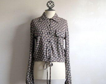 70s Vintage DVF Blouse Diane Von Furstenberg Dark Blue Paisley Jersey Crop Shirt 12