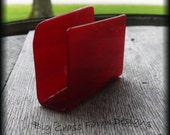 Handmade Fused Glass Business Card Holder Red
