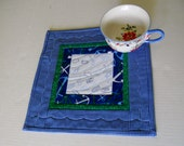 Quilted Mug Rug Mug Mat, Blue Snack Mat, Floral Mug Mat, Mini Quilt, Quilted Table Topper, Beach House Decor, Blue and Green
