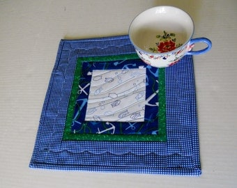 Nautical Mug Rug, Blue Snack Mat, Mug Mat, Seaside Mini Quilt, Quilted Table Topper, Beach House