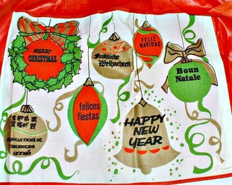 Merry Christmas Apron Happy New Year Ornaments Wreath International  Languages All Cotton Vintage Mid Century