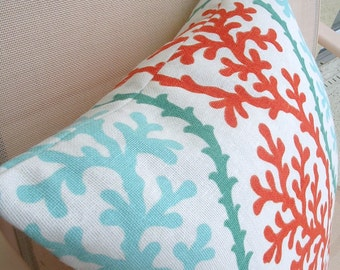 "Designer  Accent Pillow Cover, Aqua and Coral, Kaufmann  fabric ""Coral Splendor"",  linen and cotton blend"