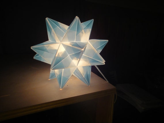 Baby blue origami paper modular star lamp handmade in vermont for Paper star lamp