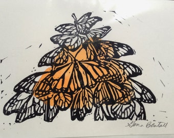 Monarch Cluster, Hand-printed Notecard