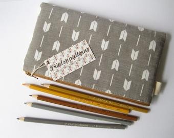 Traditional Japanese Arrow Motif Yabane Cotton Fabric Pencil Case. Geometric pattern. Minimalist. Zen. Pencil Pouch.