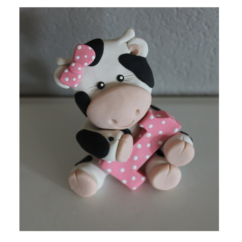 Cake Toppers For Baby Birthday : Custom Cow Cake Topper for Birthday or Baby Shower