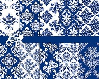Blue digital paper Blue damask digital paper scrapbook paper printable paper Blue paper Navy blue damask Commercial use