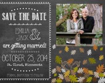 Fall Autumn Save the Date Leaves