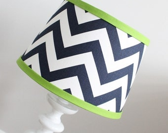 IN STOCK Small White Navy Blue Chevron lamp shade with accent green .  Other colors available.