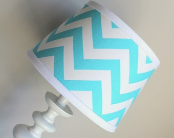 Small Aqua blue and white lamp shade