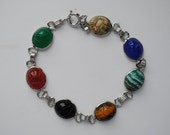 sterling silver scarob bracelet, mulit colored stones vintage charm bracelet